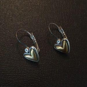 Brighton gold/silver heart earrings